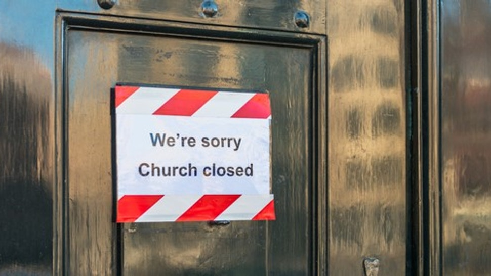 Closed church in Amsterdam, Netherlands. As of March 12 2020, The Dutch government mandated the closure of public places to avoid the spread of the coronavirus.