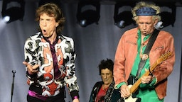 TOPSHOT - (L/R): British musicians Mick Jagger, Ronnie Wood and Keith Richards of The Rolling Stones perform during a concert at The Velodrome Stadium in Marseille on June 26, 2018, as part of their 'No Filter' tour. (Photo by Boris HORVAT / AFP) (Photo credit should read