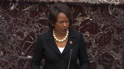 WASHINGTON, DC - JANUARY 31: In this screengrab taken from a Senate Television webcast, House manager Rep. Val Demings (D-FL) speaks during impeachment proceedings against U.S. President Donald Trump in the Senate at the U.S. Capitol on January 31, 2020 in Washington, DC. (Photo by