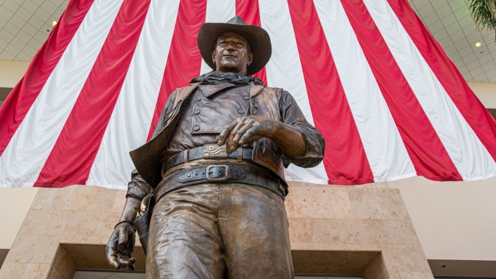 SANTA ANA, CA - SEPTEMBER 25: The statue of John Wayne at John Wayne Airport in Santa Ana on Wednesday, September 25, 2019. (Photo by