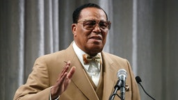 Nation of Islam Minister Louis Farrakhan delivers a speech and talks about U.S. President Donald Trump, at the Watergate Hotel, on November 16, 2017 in Washington, DC.