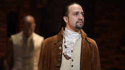 "Actor, composer Lin-Manuel Miranda is seen on stage during ""Hamilton"" GRAMMY performance for The 58th GRAMMY Awards at Richard Rodgers Theater on February 15, 2016 in New York City."