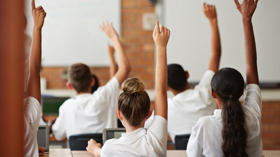 Students raise hands.