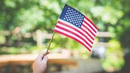 Small American flag.