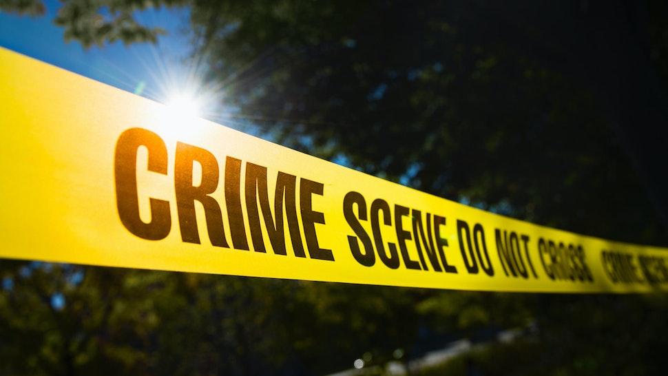 USA, New York State, New York City, Crime scene barrier tape.