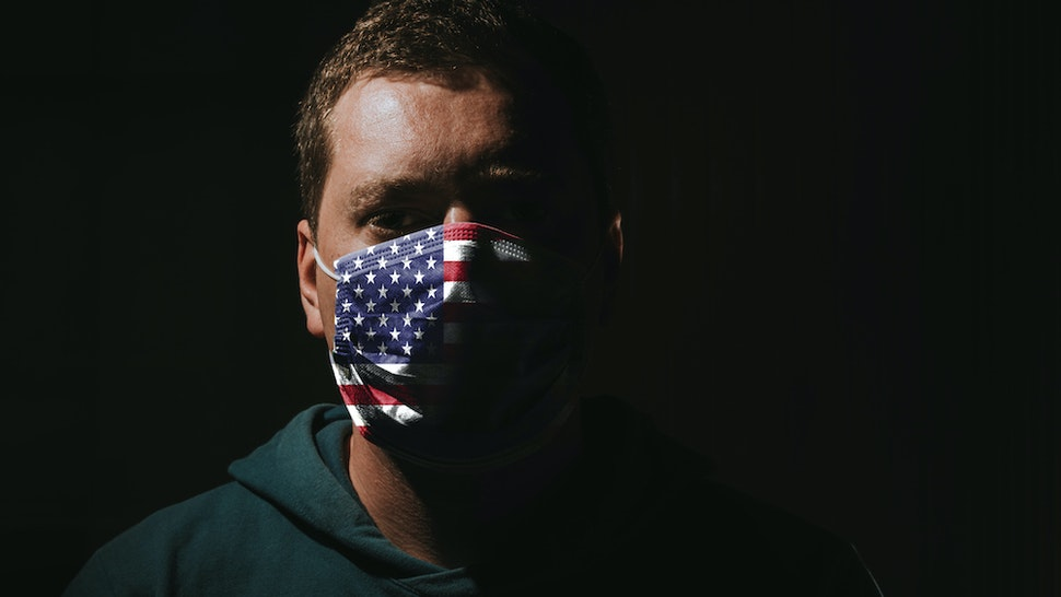Man Wearing Mask With American Flag For Protection Of Corona Virus Covid-19 Sars-Cov-2