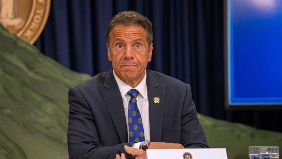 NEW YORK, NY - JULY 6: New York Governor Andrew Cuomo speaks during a COVID-19 briefing on July 6, 2020 in New York City. On the 128th day since the first confirmed case in New York and on the first day of phase 3 of the reopening, Gov. Cuomo asked New Yorkers to continue to be smart while siting the rise of infections in other states. (Photo by David Dee Delgado/Getty Images)