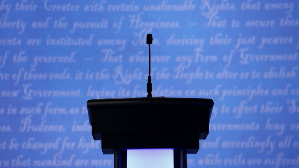 A candidates podium seen prior to the start of the third U.S. presidential debate at the Thomas & Mack Center on October 19, 2016 in Las Vegas, Nevada.