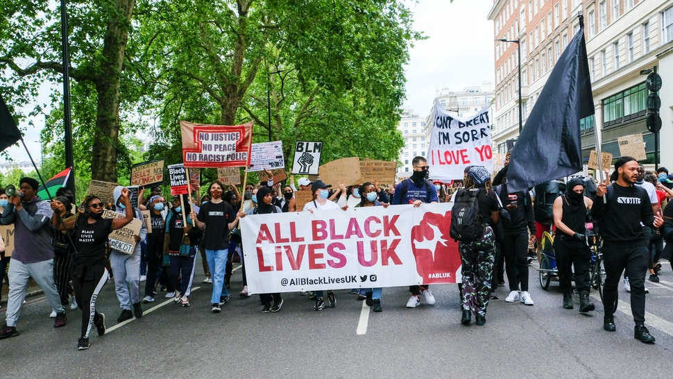 LONDON, UNITED KINGDOM - JULY 19, 2020 - Black Lives Matter protest march in central London