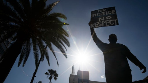 Thousands of people participated in today's peaceful march peaceful march in Hollywood, CA today Sunday June 7, 2020 against police brutality sparked by the death of George Floyd. (Francine Orr/ Los Angeles Times)