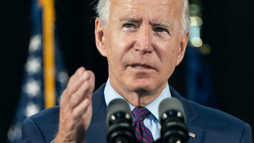 LANCASTER, PA - JUNE 25: Democratic presidential candidate former Vice President Joe Biden speaks at an an event about affordable healthcare at the Lancaster Recreation Center on June 25, 2020 in Lancaster, Pennsylvania. Biden met with families who have benefited from the Affordable Care Act and made remarks on his plan for affordable healthcare.