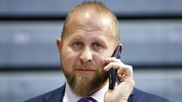 DES MOINES, IA - JANUARY 30: Brad Parscale, campaign manager for President Donald Trump's re-election campaign, speaks on the phone ahead a campaign rally inside of the Knapp Center arena at Drake University on January 30, 2020 in Des Moines, Iowa. President Donald Trump will later host a campaign rally at Drake University ahead of the Iowa Caucuses.
