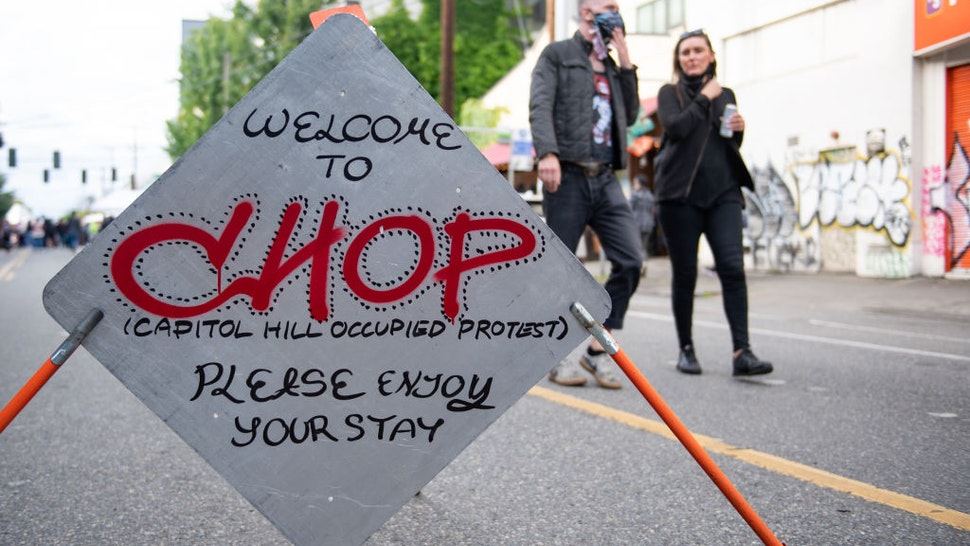 SEATTLE, WASHINGTON - JUNE 14: A welcome sign inside the âCapitol Hill Organized Protestâ formerly known as the âCapitol Hill Autonomous Zoneâ in Seattle, Washington on June 14, 2020. The âCapitol Hill Organized Protestâ was formed after Seattle Police abandoned its East Precinct during protests against police brutality and the death of George Floyd, an unarmed black man who died after being pinned down by a white police officer in Minneapolis, Minnesota, United States on May 25, 2020. (Photo by Noah Riffe/Anadolu Agency via Getty Images)