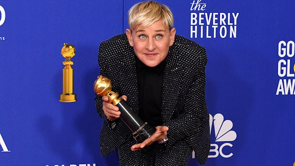 BEVERLY HILLS, CALIFORNIA - JANUARY 05: 77th ANNUAL GOLDEN GLOBE AWARDS -- Pictured: Carol Burnett Award winner Ellen DeGeneres in the press room at the 77th Annual Golden Globe Awards held at the Beverly Hilton Hotel on January 5, 2020. --