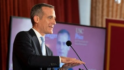 Los Angeles Mayor Eric Garcetti speaks during Unhoused: Addressing Homelessness in California at the University of Southern California in Los Angeles, CA on Thursday, February 13, 2020. The program was at the USC Schwarzenegger Institute for State and Global Policy and USC Price Center for Social Innovation. (Photo by Paul Bersebach/MediaNews Group/Orange County Register via Getty Images)