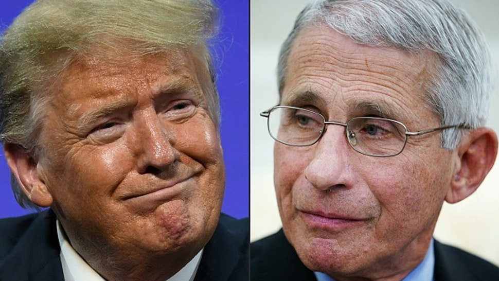 """(COMBO) This combination of pictures created on July 13, 2020 shows US President Donald Trump in Phoenix, Arizona, June 23, 2020 and Anthony Fauci , director of the National Institute of Allergy and Infectious Diseases in Washington, DC on April 29, 2020. - As Florida reports a record surge of deaths due to COVID-19, President Trump called out Dr. Fauci on Fox News for making """"a lot of mistakes"""", while The White House stated """"several White House officials are concerned about the number of times Dr. Fauci has been wrong on things"""". Fauci, for his part, has contradicted the President by saying that """"the country is not doing well in comparison to other countries handling of the virus""""."""