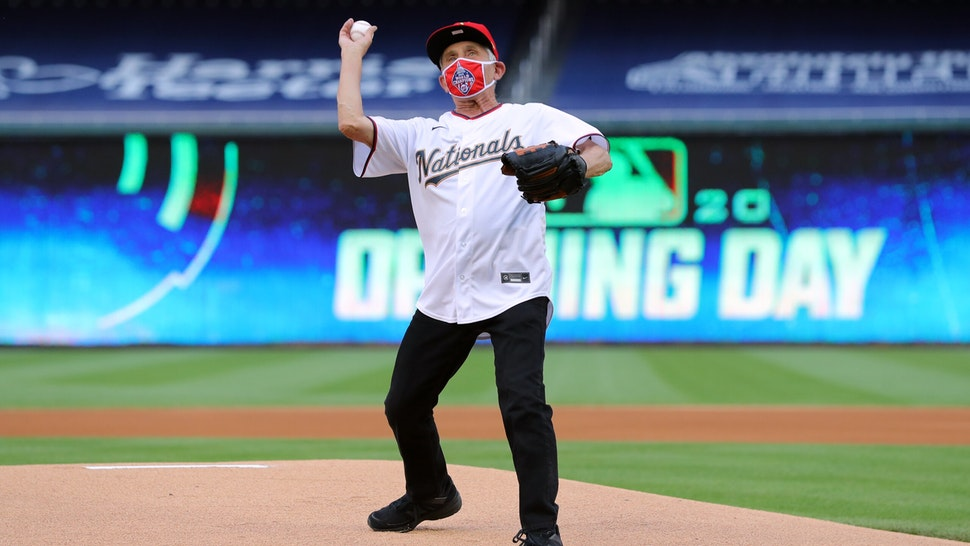 WASHINGTON, DC - JULY 23: Director of the National Institute of Allergy and Infectious Diseases Dr. Anthony Fauci throws out the ceremonial first pitch prior to the game between the New York Yankees and the Washington Nationals at Nationals Park on Thursday, July 23, 2020 in Washington, District of Columbia.
