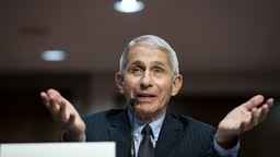"""Anthony Fauci, director of the National Institute of Allergy and Infectious Diseases, speaks during a Senate Health, Education, Labor and Pensions Committee hearing in Washington, D.C., U.S., on Tuesday, June 30, 2020. The U.S. government's top infectious disease specialist said he's """"quite concerned"""" about the spike in cronavirus cases in Florida, Texas, Arizona and California."""