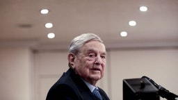 George Soros, billionaire and founder of Soros Fund Management LLC, speaks at an event on day three of the World Economic Forum (WEF) in Davos, Switzerland, on Thursday, Jan. 25, 2018. World leaders, influential executives, bankers and policy makers attend the 48th annual meeting of the World Economic Forum in Davos from Jan. 23 - 26. Photographer: Simon Dawson/Bloomberg