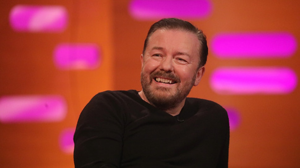 Ricky Gervais during the filming for the Graham Norton Show at BBC Studioworks 6 Television Centre, Wood Lane, London, to be aired on BBC One on Friday evening.