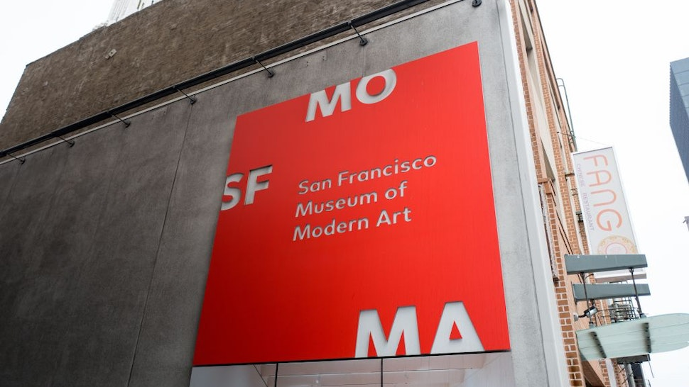 Bright red sign for the San Francisco Museum of Modern Art