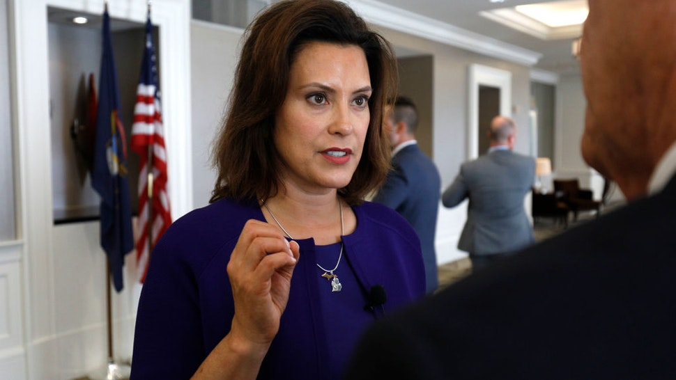 Gretchen Whitmer, Michigan Democratic gubernatorial nominee, speaks with a reporter after a Democrat Unity Rally at the Westin Book Cadillac Hotel August 8, 2018 in Detroit, Michigan.