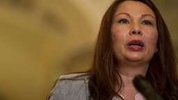 Sen. Tammy Duckworth (D-IL) speaks during a weekly news conference on Capitol Hill on August 21, 2018 in Washington, DC.