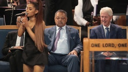 Ariana Grande performs at the funeral for Aretha Franklin at the Greater Grace Temple on August 31, 2018 in Detroit, Michigan. Franklin,