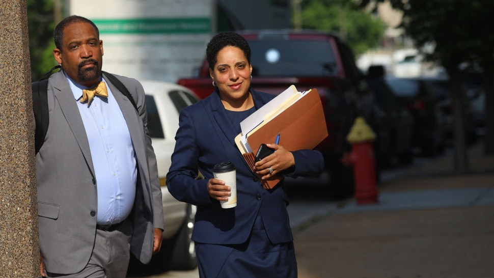 St. Louis Circuit Attorney Kim Gardner, right, and Ronald Sullivan, a Harvard law professor, arrive at the Civil Courts building on May 14, 2018.