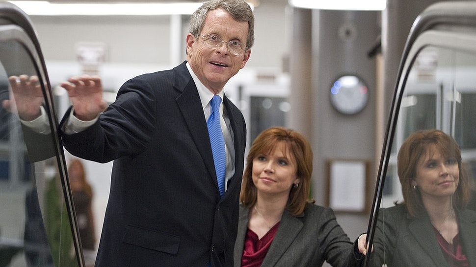 Former Sen. Mike DeWine, R-Ohio, and NBC political reporter Kelly O'Donnell, ride the escalator up to the Capitol from the Senate subway on Wednesday, March 2, 2011.
