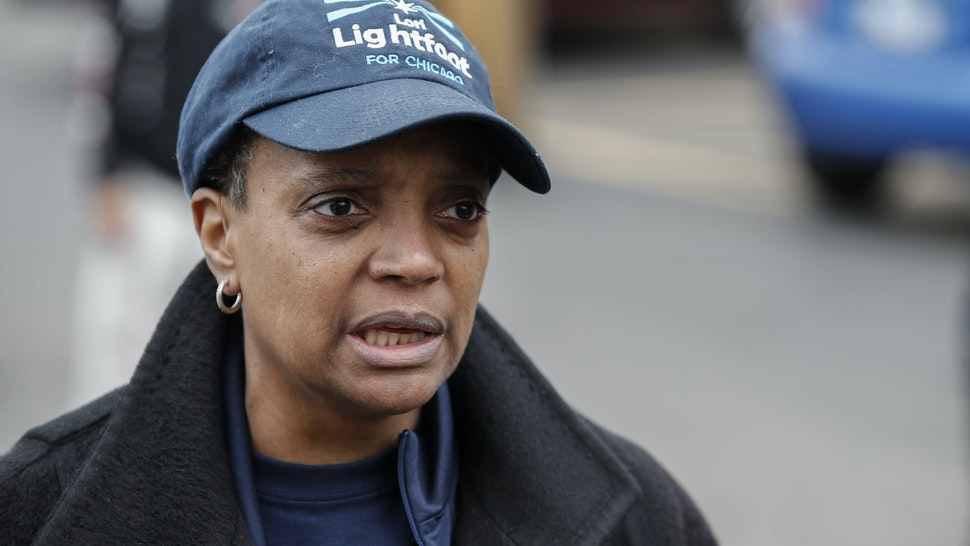Chicago mayoral candidate Lori Lightfoot speaks to the press outside of the polling place at the Saint Richard Catholic Church in Chicago, Illinois on April 2, 2019. - Chicago residents went to the polls in a runoff election Tuesday to elect the US city's first black female mayor in a historic vote centered on issues of economic equality, race and gun violence. Lightfoot and Toni Preckwinkle, both African-American women, are competing for the top elected post in the city. (Photo by Kamil Krzaczynski / AFP) (Photo by KAMIL KRZACZYNSKI/AFP via Getty Images)