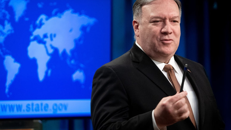 US Secretary of State Mike Pompeo announces that the US will designate Iran's Islamic Revolutionary Guard Corps (IRGC) as a Foreign Terrorist Organization (FTO) during a press conference at the State Department in Washington, DC, April 8, 2019.