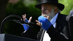 Rabbi Yisroel Goldstein speaks during the National Day of Prayer Service, in the Rose Garden of the White House in Washington, DC, on May 2, 2019.