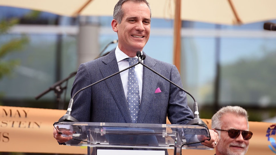 Mayor of Los Angeles Eric Garcetti speaks onstage at the grand opening of the Los Angeles LGBT Center's Anita May Rosenstein Campus on April 07, 2019 in Los Angeles,