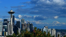 A general view of the Seattle Space Needle and downtown skyline with Mount Rainier in the background leading up to the 2019 Rock'n'Roll Seattle Marathon and 1/2 Marathon on June 8, 2019 in Seattle, Washington.