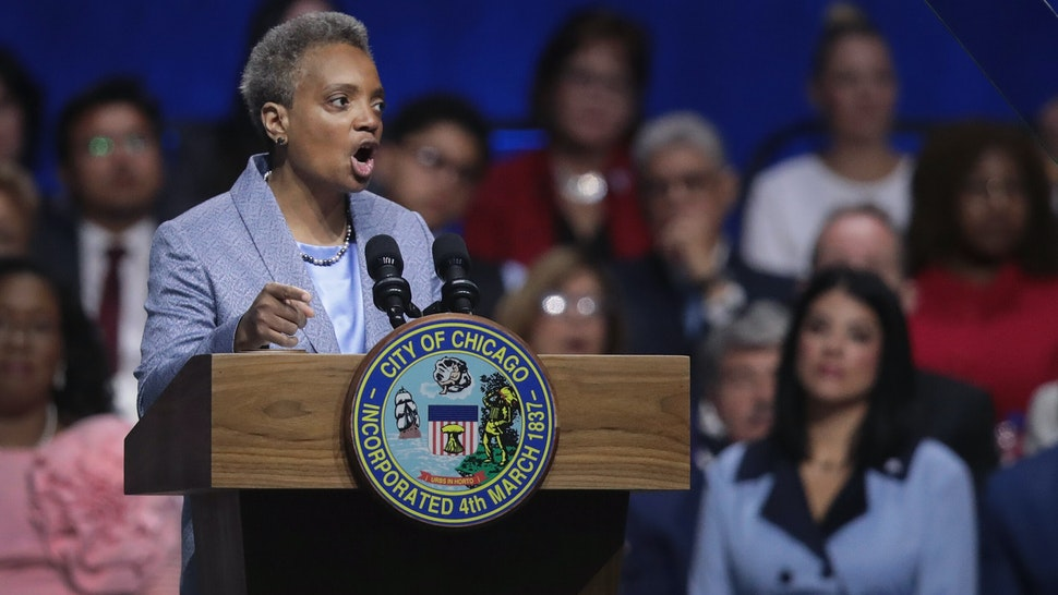 CHICAGO, ILLINOIS - MAY 20: Lori Lightfoot addresses guests after being sworn in as Mayor of Chicago during a ceremony at the Wintrust Arena on May 20, 2019 in Chicago, Illinois. Lightfoot become the first black female and openly gay Mayor in the city's history. (Photo by Scott Olson/Getty Images)
