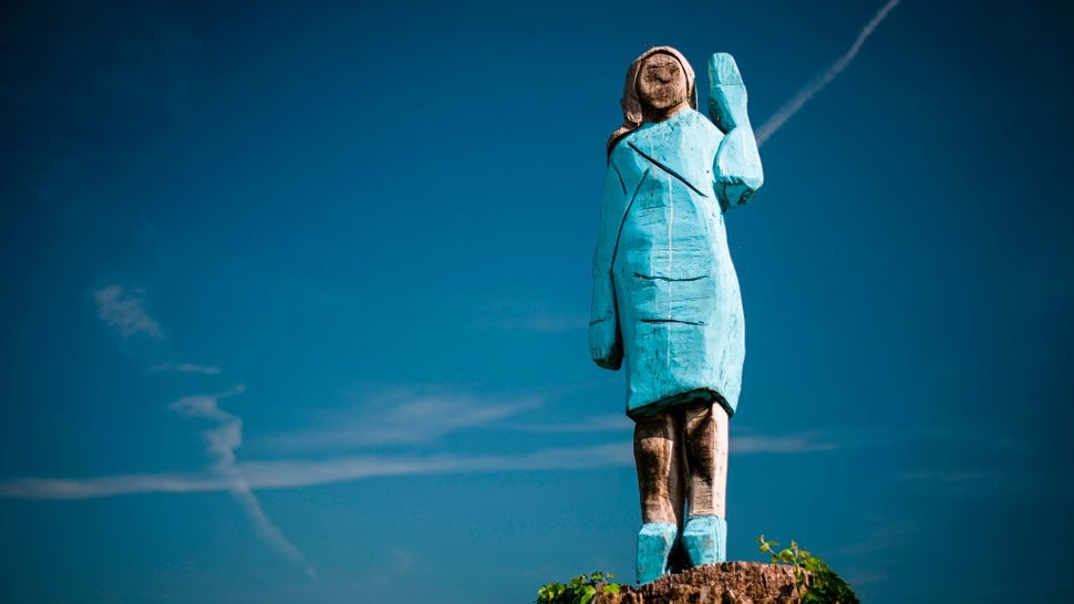 A picture taken on July 5, 2019 shows what conceptual artist Ales 'Maxi' Zupevc claims is the first ever monument of Melania Trump, set in the fields near town of Sevnica, US First Ladys hometown.