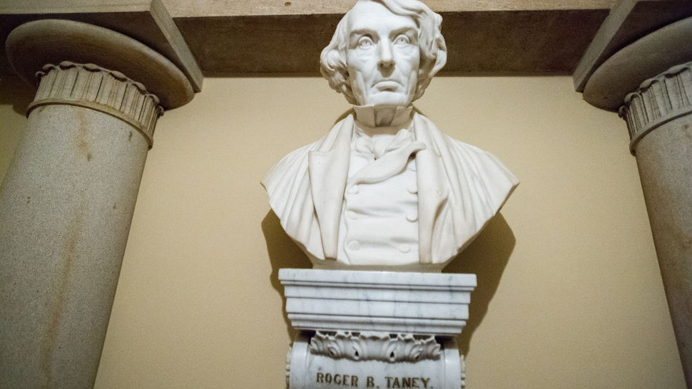 Sculpture of Roger B. Taney inside the U.S. Capitol in Washington DC.