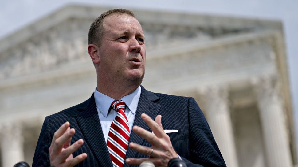 Eric Schmitt, Missouri attorney general, speaks during a news conference outside the Supreme Court in Washington, D.C., U.S., on Monday, Sept. 9, 2019.