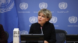 UN Special Rapporteur on extrajudicial, summary or arbitrary executions Agnes Callamard holds a press conference at the United Nations Headquarters in New York, United States on October 25, 2019.