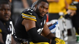 Stephon Tuitt #91 of the Pittsburgh Steelers looks on during the game against the Cincinnati Bengals at Heinz Field on September 30, 2019 in Pittsburgh, Pennsylvania.