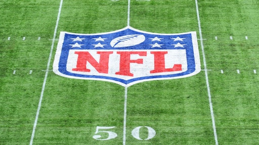 Detailed view of the NFL logo on the pitch during the NFL match between the Carolina Panthers and Tampa Bay Buccaneers at Tottenham Hotspur Stadium on October 13, 2019 in London, England.
