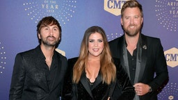 (L-R) Dave Haywood, Hillary Scott and Charles Kelley of Lady Antebellum attend the 2019 CMT Artist of the Year at Schermerhorn Symphony Center on October 16, 2019 in Nashville, Tennessee