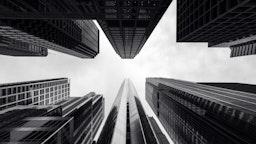 Black and White, Looking Up, Hyatt Center, Chicago, Illinois, America - stock photo