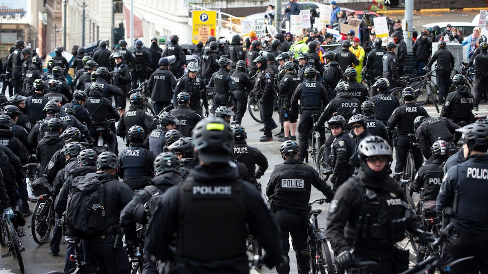 Seattle police were out in force during a rally called United Against Hate hosted by right wing group, the Washington State Three Percent (3%), at City Hall Plaza on January 5, 2020 in Seattle, Washington.