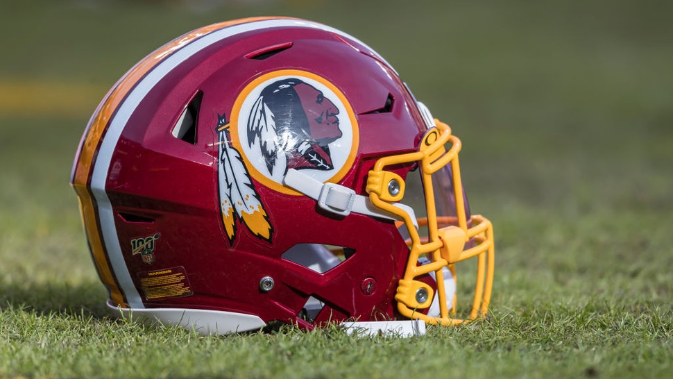 A Washington Redskins helmet is seen on the field before the game between the Washington Redskins and the New York Giants at FedExField on December 22, 2019 in Landover, Maryland.