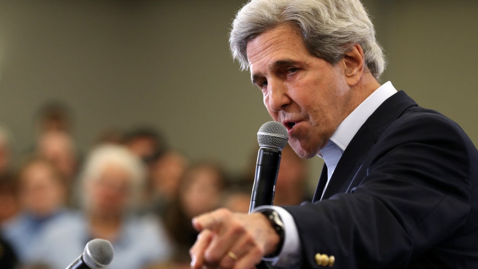 Former Secretary of State John Kerry speaks during a campaign event for Democratic presidential candidate former Vice President Joe Biden on February 01, 2020 in North Liberty, Iowa.