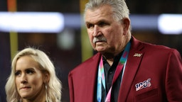 Mike Ditka of the NLF 100 All-Time Team is honored on the field prior to Super Bowl LIV between the San Francisco 49ers and the Kansas City Chiefs at Hard Rock Stadium on February 02, 2020 in Miami, Florida.