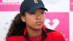 Naomi Osaka of Japan attends the press conference after her match against Sara Sorribes of Spain during the 2020 Fed Cup Qualifier between Spain and Japan at Centro de Tenis La Manga Club on February 07, 2020 in Cartagena, Spain.