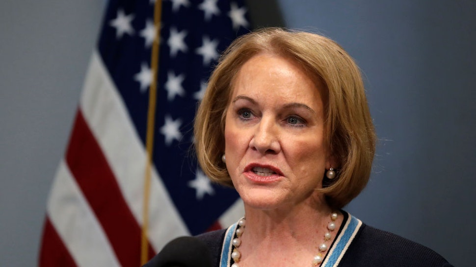 Seattle Mayor Jenny Durkan speaks at a news conference about the coronavirus outbreak Monday, March 16, 2020, in Seattle.